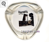 Harrah's, Lake Tahoe - Black and gold imprint Glass Ashtray