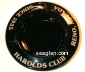 Harolds Club, Since 1935, Reno, Nevada - Yellow imprint Glass Ashtray