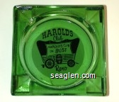 Harolds Club, Harolds Club or Bust, Reno - Black on white imprint Glass Ashtray