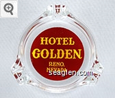 Hotel Golden, Reno Nevada - Yellow on red imprint Glass Ashtray