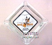 Hiways 6 - 50 - 50 - A and 93, Hotel Nevada, Ely, Nevada, Western Hospitality - Orange and brown on white imprint Glass Ashtray