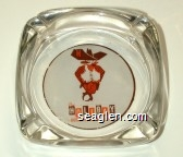 The HOLIDAY Hotel in Downtown Reno - Orange and brown imprint Glass Ashtray