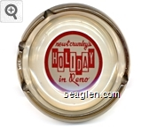 newt crumley's Holiday in Reno - Red on white imprint Glass Ashtray