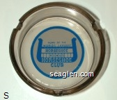 Home of the World's Largest Horseshoe, Reno's Horseshoe Club - Blue on white imprint Glass Ashtray