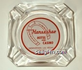 Horseshoe Hotel and Casino, Downtown Las Vegas, Nevada - Red on white imprint Glass Ashtray