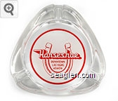 Horseshoe, Downtown Las Vegas, Nevada - Red on white imprint Glass Ashtray