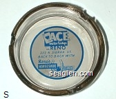 Ace Motor Lodge in Reno, 222 N. Sierra St. Back to Back With Reno's Horseshoe Club - Blue on white imprint Glass Ashtray