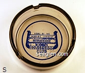 Home of the World's Largest Horseshoe, Reno's Horseshoe Club - Blue imprint Glass Ashtray
