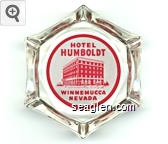 Hotel Humboldt,  Winnemucca, Nevada - Red on white imprint Glass Ashtray