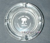Stolen From Independence Hotel & Casino, Cripple Creek, CO - White imprint Glass Ashtray