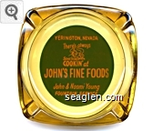 Yerington, Nevada, There's always Something Cookin' at John's Fine Foods, John & Naomi Young, Fountain Service - Orange on green imprint Glass Ashtray