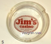 Jim's casino, west wendover nevada - Red on white imprint Glass Ashtray