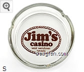 Jim's casino, west wendover nevada - Brown on white imprint Glass Ashtray