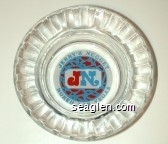 Jerry's Nugget, JN, North Las Vegas - Red and blue on white imprint Glass Ashtray