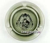 Johnny Nolon's Saloon & Gambling Emporium - Black on white imprint Glass Ashtray