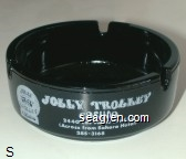 Jolly Trolley Casino, 2440 Las Vegas Blvd. So. (Across from Sahara Hotel), 385-3168 - White imprint Glass Ashtray