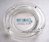 Key Largo Casino, Las Vegas Nevada - Blue and violet imprint Glass Ashtray