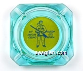 Kit Carson Casino, Carson City Nevada - Blue on yellow imprint Glass Ashtray