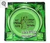 Kit Carson Club, Carson City, Nevada - Brown on white imprint Glass Ashtray