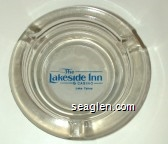 The Lakeside Inn & Casino, Lake Tahoe - Blue on white imprint Glass Ashtray