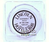 Lincoln Hotel & Bar, Reasonable Rates, We Welcome Families, Eureka, Nevada - Black on white imprint Glass Ashtray