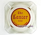The Lancer Reno, On the Mt. Rose Highway - Red on yellow imprint Glass Ashtray