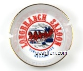 Longbranch Saloon, Virginia City, Nevada - Red and blue imprint Porcelain Ashtray