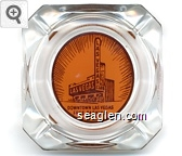 Downtown Las Vegas Free Parking - Brown on orange imprint Glass Ashtray
