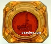Downtown Las Vegas, Free Parking - Brown on orange imprint Glass Ashtray