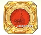 Downtown Las Vegas - Brown on orange imprint Glass Ashtray
