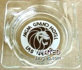 MGM Grand Hotel, Las Vegas - Brown on white imprint Glass Ashtray