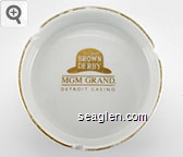 The Hollywood Brown Derby, MGM Grand, Detroit Casino - Gold imprint Porcelain Ashtray