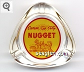 Carson City Nugget, V&T RR - Red on yellow imprint Glass Ashtray