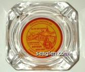 Compliments of Carson City Nugget, All for our Country, 100 Years, Centennial of the State of Nevada 1864-1964 - Red on yellow imprint Glass Ashtray
