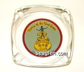 Home of the Keno Queen, New China Club, 260 Lake St., Reno - Black, red, blue on yellow imprint Glass Ashtray