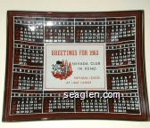 Greetings for 1963, Nevada Club in Reno, Nevada Lodge at Lake Tahoe - Red, white and black imprint Glass Ashtray
