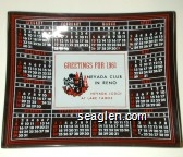 Greetings for 1961, Nevada Club in Reno, Nevada Lodge at Lake Tahoe - Red, white and black imprint Glass Ashtray