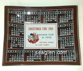 Greetings for 1964, Nevada Club in Reno, Nevada Lodge at Lake Tahoe - Red, white and black imprint Glass Ashtray