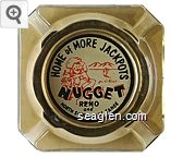 Home of More Jackpots, Jim Kelley's Nugget, Reno and North Shore Lake Tahoe - Red and black on white imprint Glass Ashtray