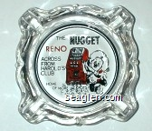 The Nugget, Reno, Across from Harold's Club, Home of More Jackpots - Red and black imprint Glass Ashtray
