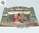 Reno, Souvenir of the Nugget - Red imprint Metal Ashtray