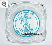 Lake Tahoe North Shore Club Hotel, Crystal Bay, Nevada - Blue on white imprint Glass Ashtray