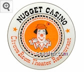 Nugget Casino, Circus Room Theatre Restaurant (Made exclusively for the Nugget's Circus Room Restaurant, Sparks, Nevada - on bottom) - Orange and black imprint Porcelain Ashtray