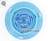 Oliver's Hotel and Club, Lake Tahoe - Blue on white imprint Glass Ashtray