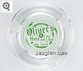 Oliver's Hotel and Club, Lake Tahoe - Green on white imprint Glass Ashtray