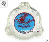 Overland Bar and Casino, Reno, ''Never a Dull Moment'' - Red on blue imprint Glass Ashtray