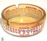 Reno, Nevada, Pick Hobson's Overland, Hotel - Casino - Red and white imprint Glass Ashtray