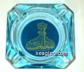 Palace Club - Yellow on blue imprint Glass Ashtray