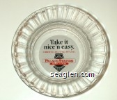 Take it nice 'n easy, 1-800-634-3101/(702)367-2411, Palace Station, Hotel - Casino - Red and black on white imprint Glass Ashtray