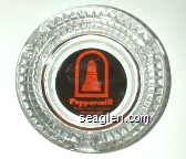 Peppermill, Mesquite - Reno - Las Vegas, 1-800-648-6992 - Orange on brown imprint Glass Ashtray